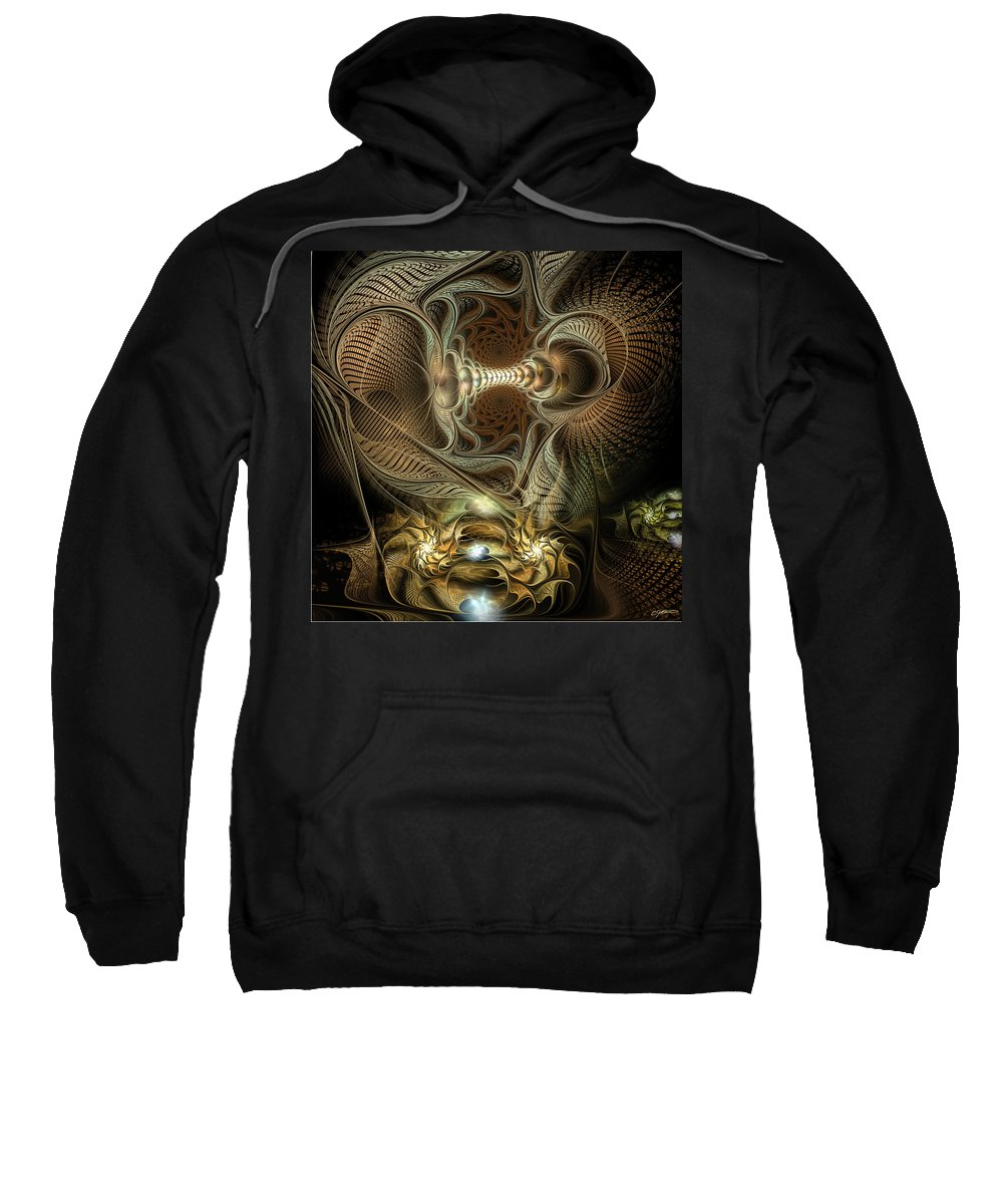 Abstract Sweatshirt featuring the digital art Probing Deception by Casey Kotas