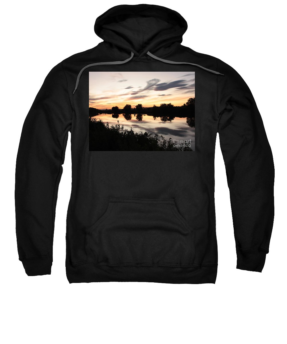 Prosser Sweatshirt featuring the photograph Prosser Sunset With Riverbank Silhouette by Carol Groenen