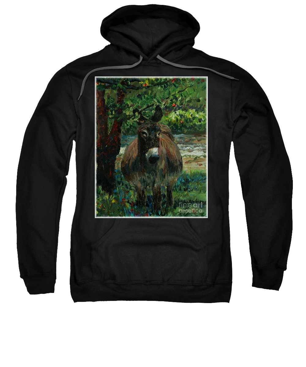 Donkey Sweatshirt featuring the painting Provence Donkey by Nadine Rippelmeyer