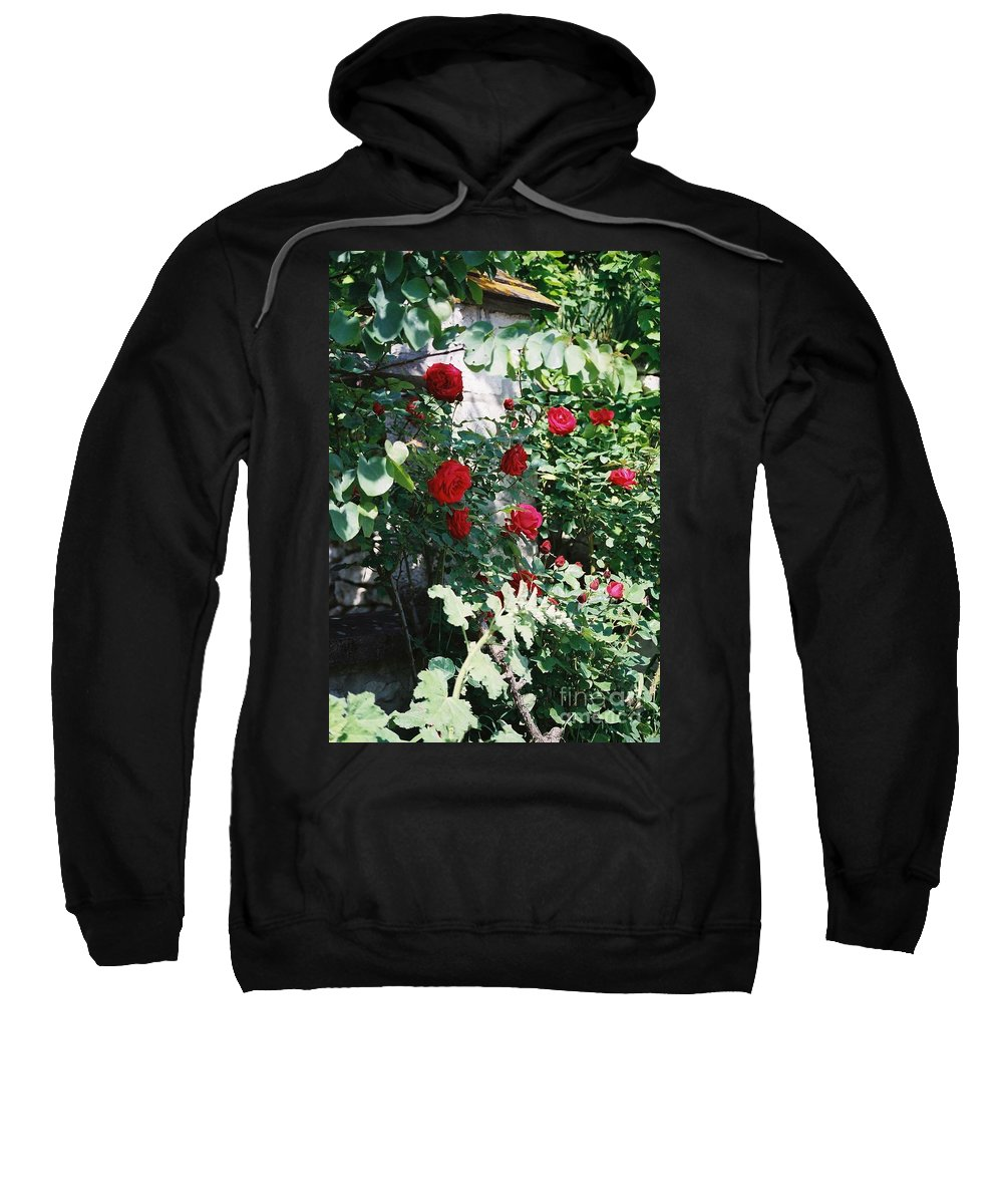 Floral Sweatshirt featuring the photograph Provence Red Roses by Nadine Rippelmeyer