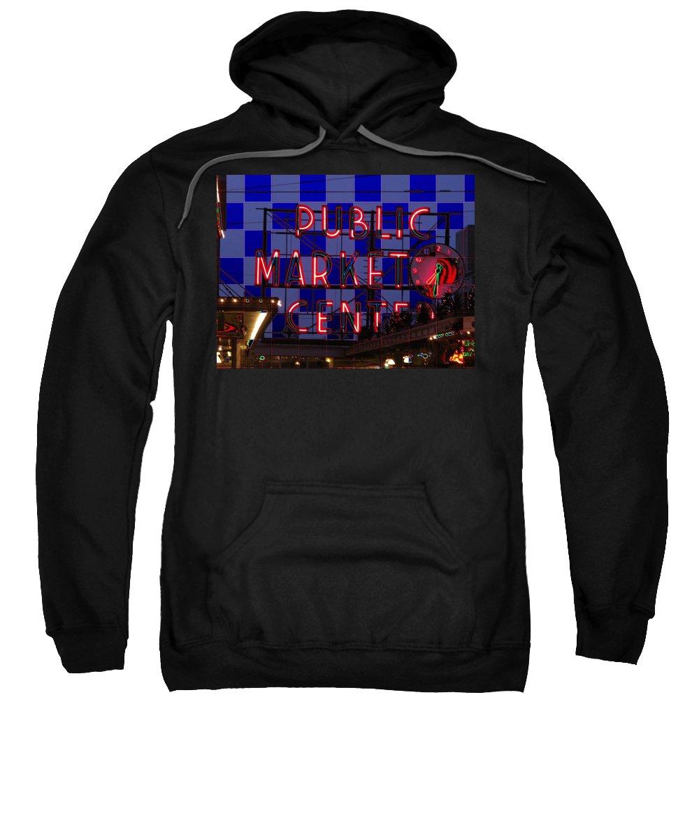 Seattle Sweatshirt featuring the digital art Public Market Checkerboard by Tim Allen