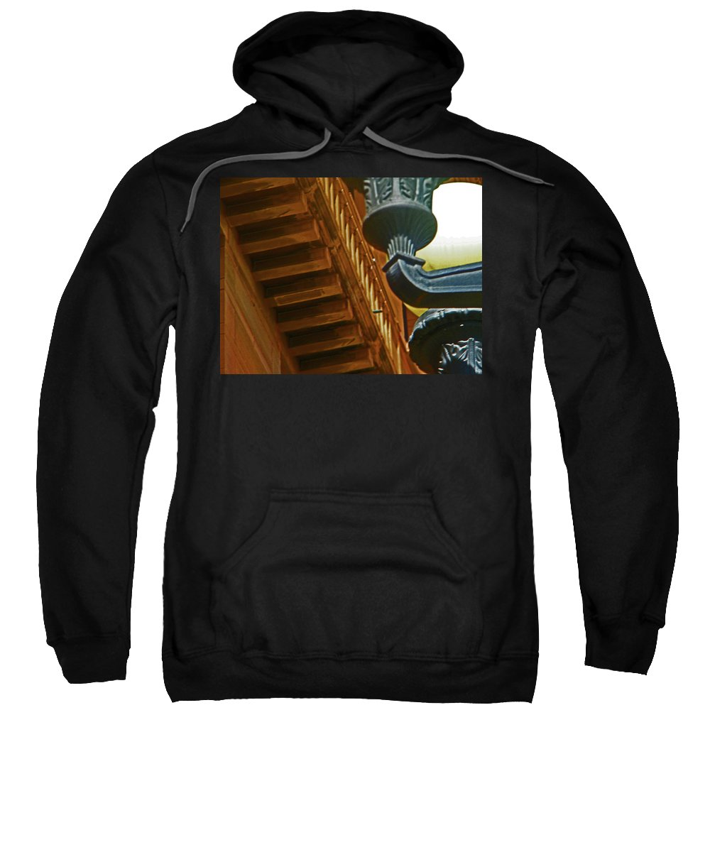 Abstract Sweatshirt featuring the photograph Pueblo Downtown Thatcher Building With Lamps by Lenore Senior