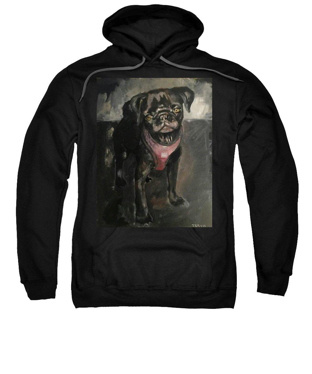 Black Pug Sweatshirt featuring the painting Pug Days by Tessa Moeller