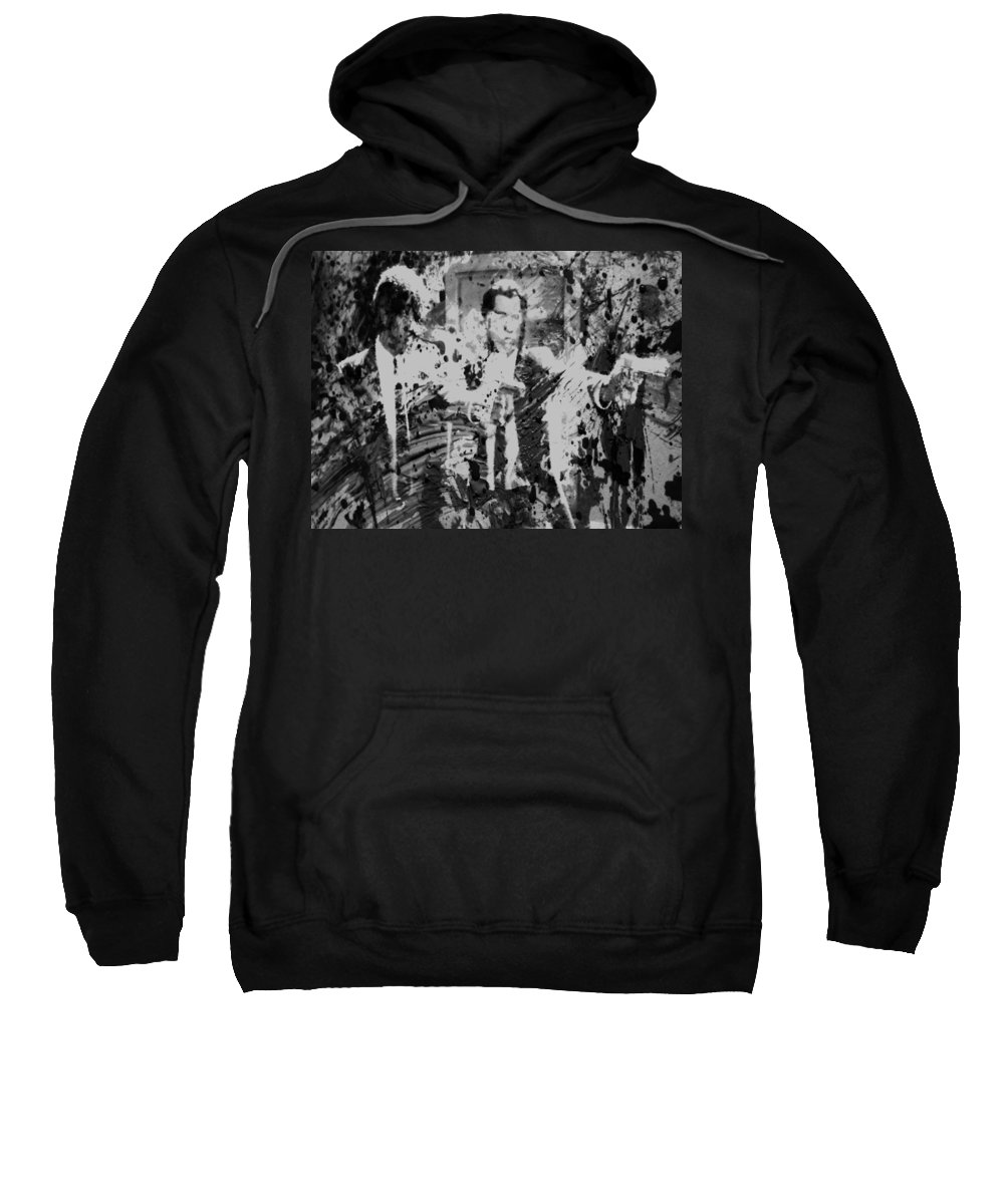 Pulp Fiction Sweatshirt featuring the painting Pulp Fiction Paint Splatter 3c by Brian Reaves