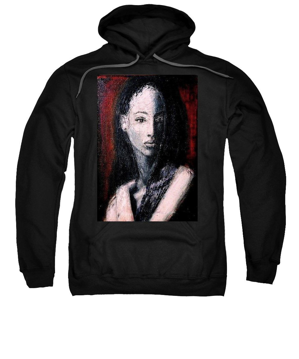 Portrait Art Sweatshirt featuring the painting Pulsar by Jarmo Korhonen aka Jarko
