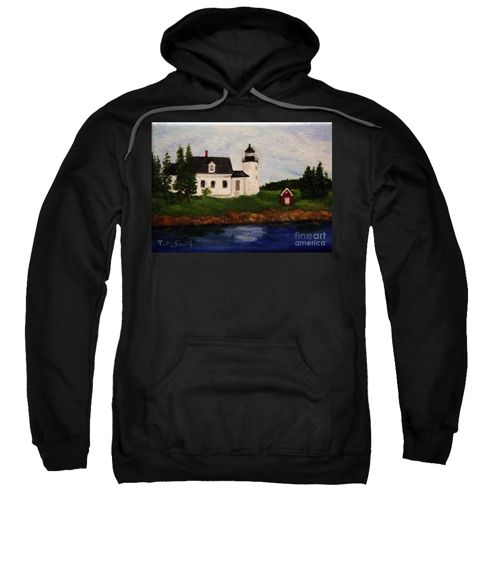 Landscape Sweatshirt featuring the painting Pumpkin Island Lighthouse by Timothy Smith