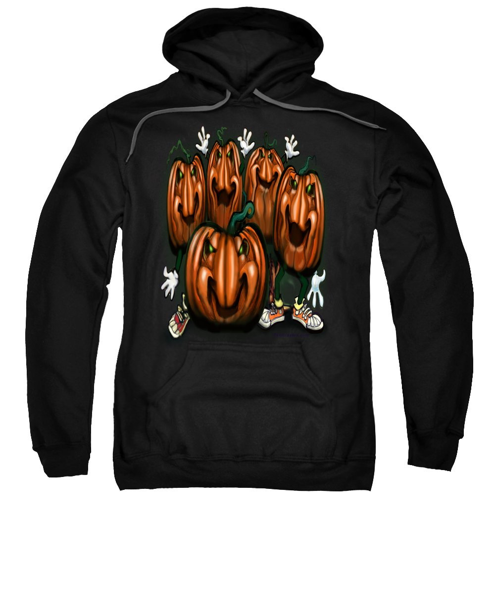 Halloween Sweatshirt featuring the painting Pumpkin Party by Kevin Middleton