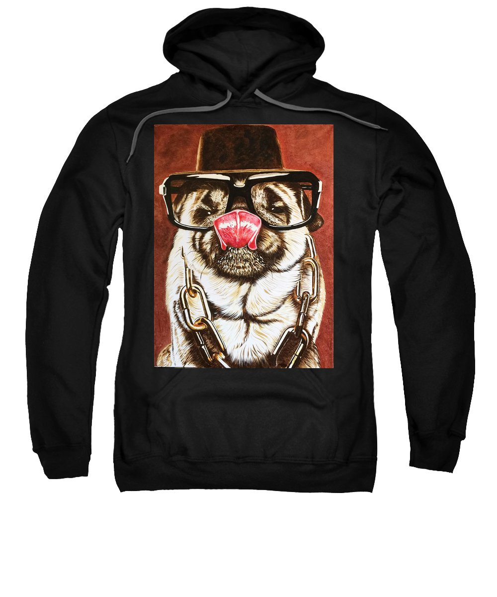 Pug Oil Painting Sweatshirt featuring the painting Punk Pug by David Rhys