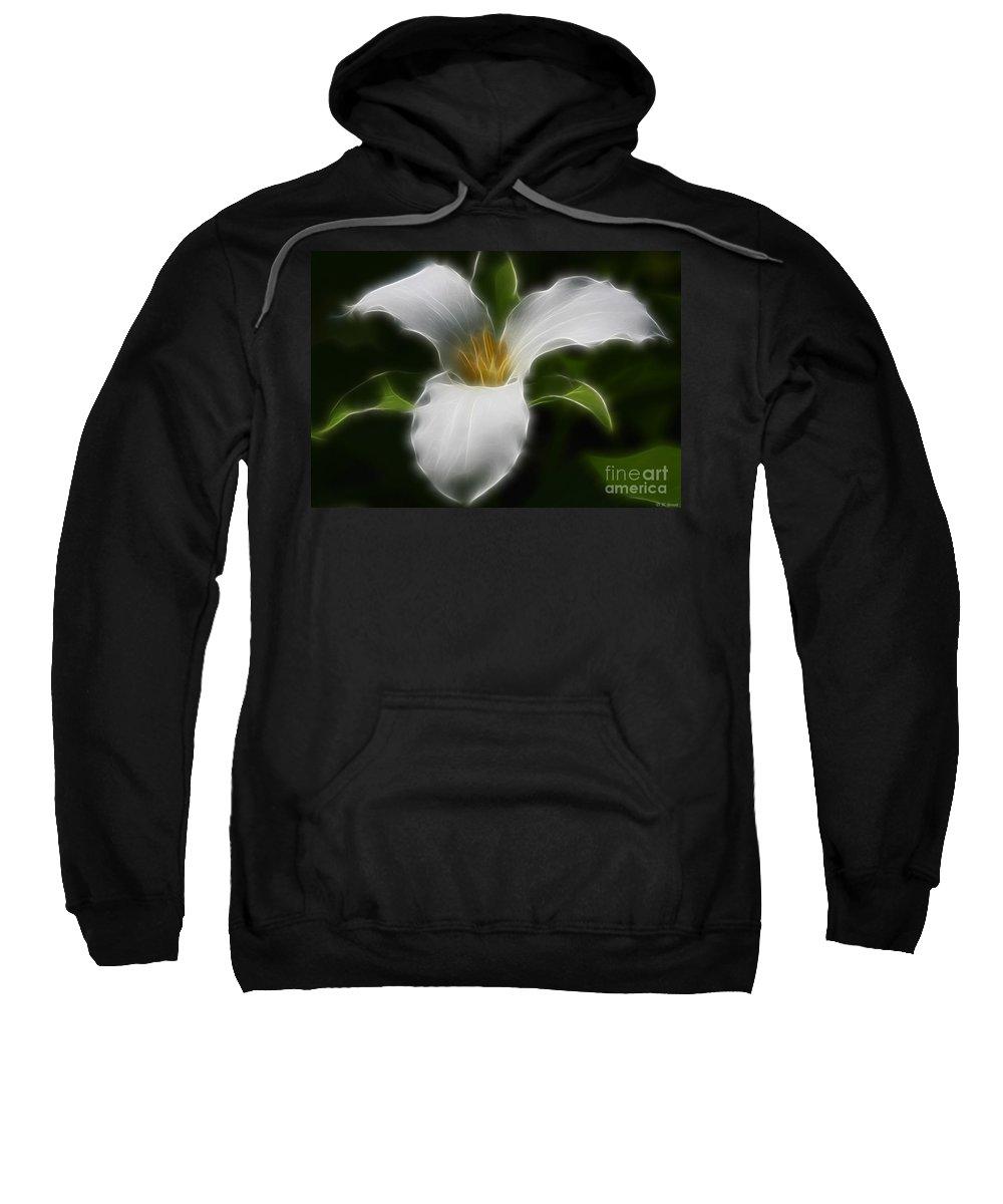 Flower Sweatshirt featuring the photograph Pure White Trillium by Deborah Benoit