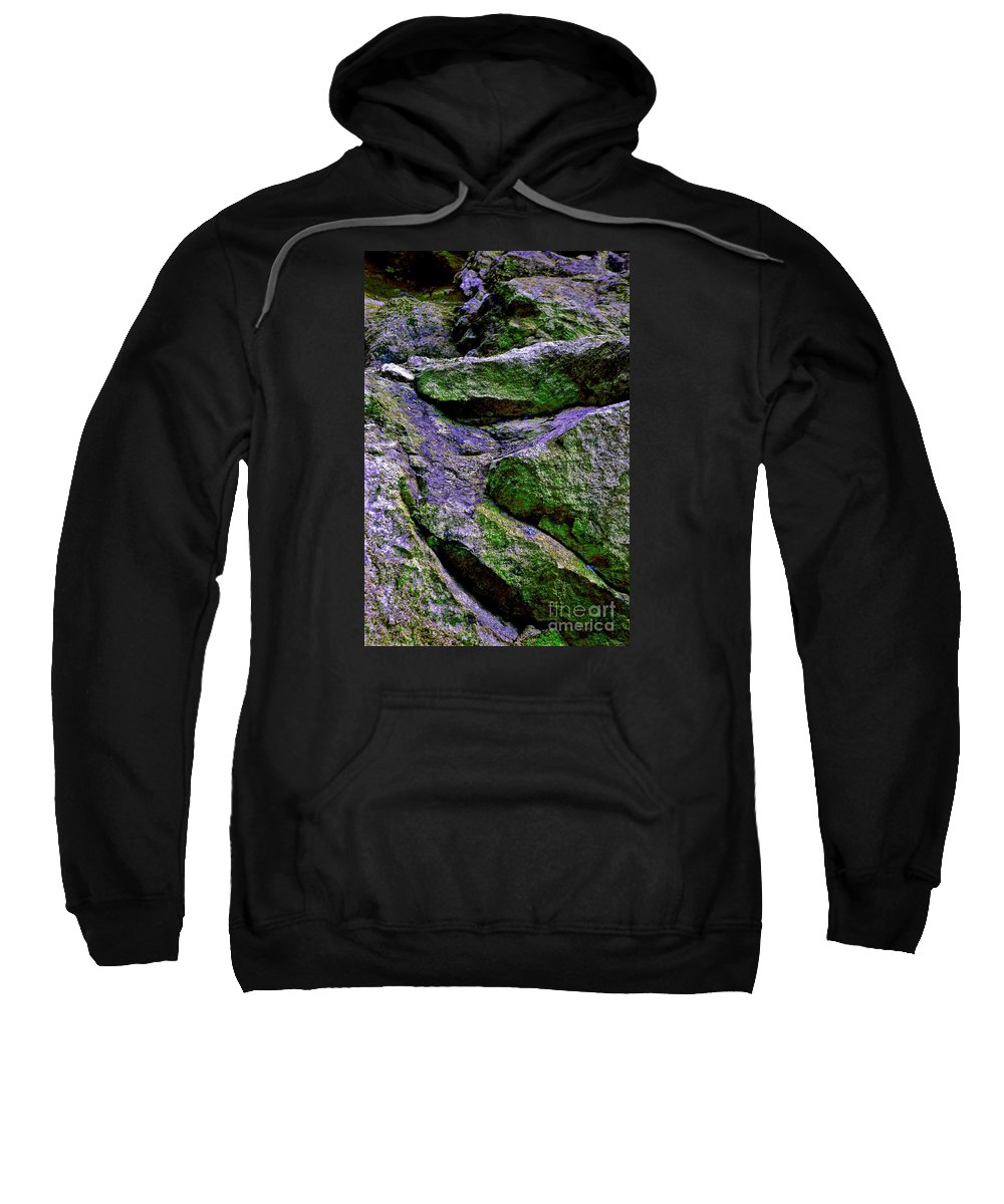 Abstract Sweatshirt featuring the photograph Purple And Green Rock by Cate