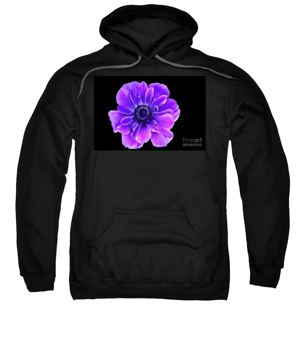 Purple Flower Sweatshirt featuring the photograph Purple Anemone Flower by Mariola Bitner