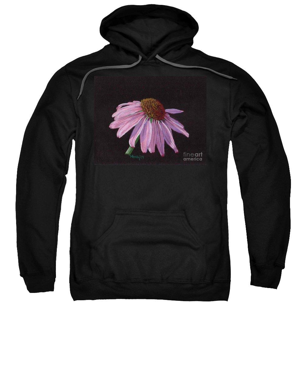 Flower Sweatshirt featuring the pastel Purple Coneflower by Mendy Pedersen