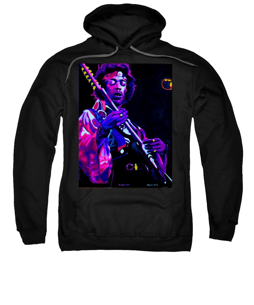 Musician Sweatshirt featuring the painting Purple Haze by Che Hondo