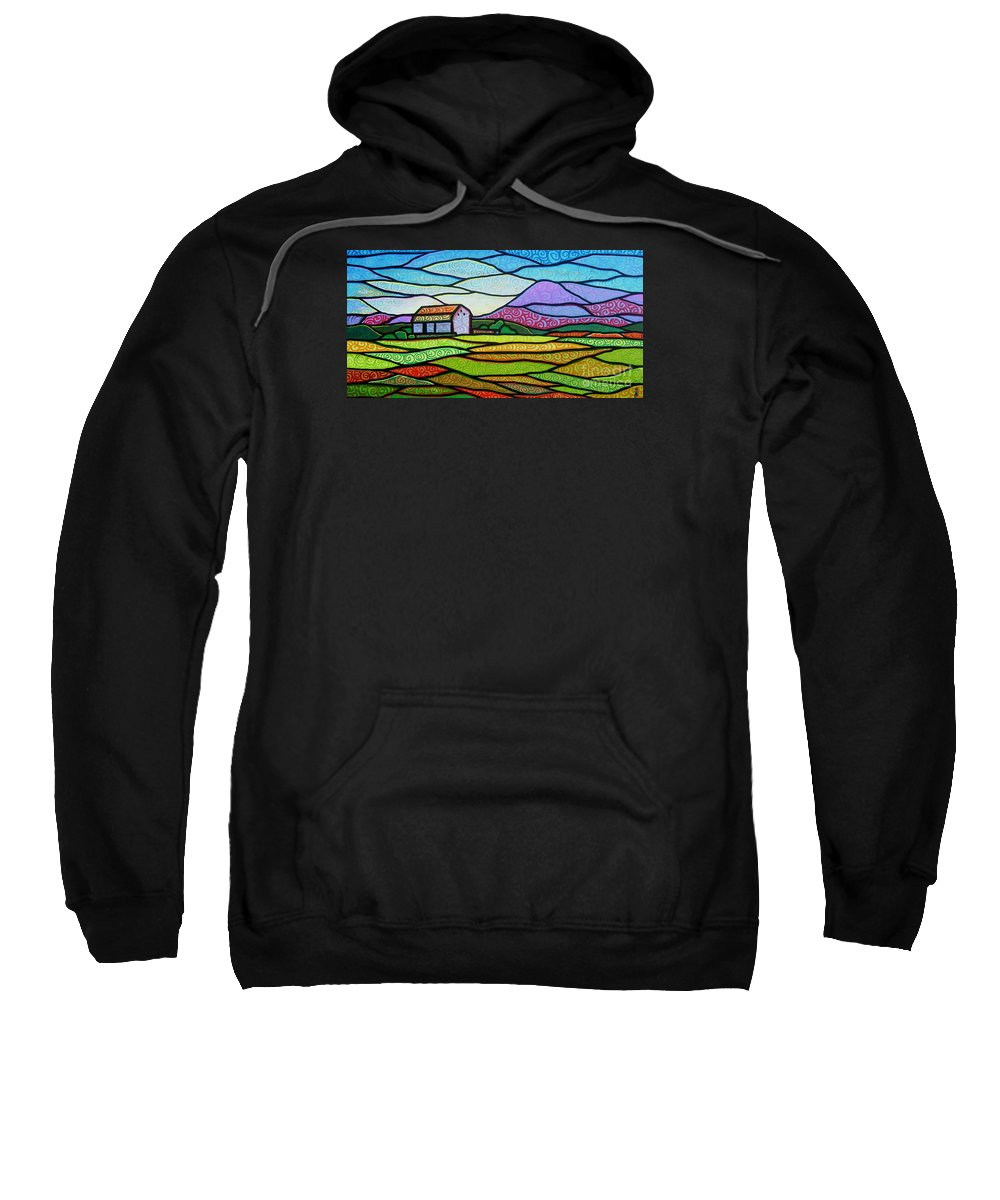 Mountains Sweatshirt featuring the painting Purple Mountain Majesty by Jim Harris