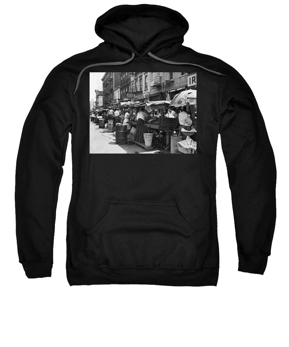 1939 Sweatshirt featuring the photograph Pushcart Market, 1939 by Granger