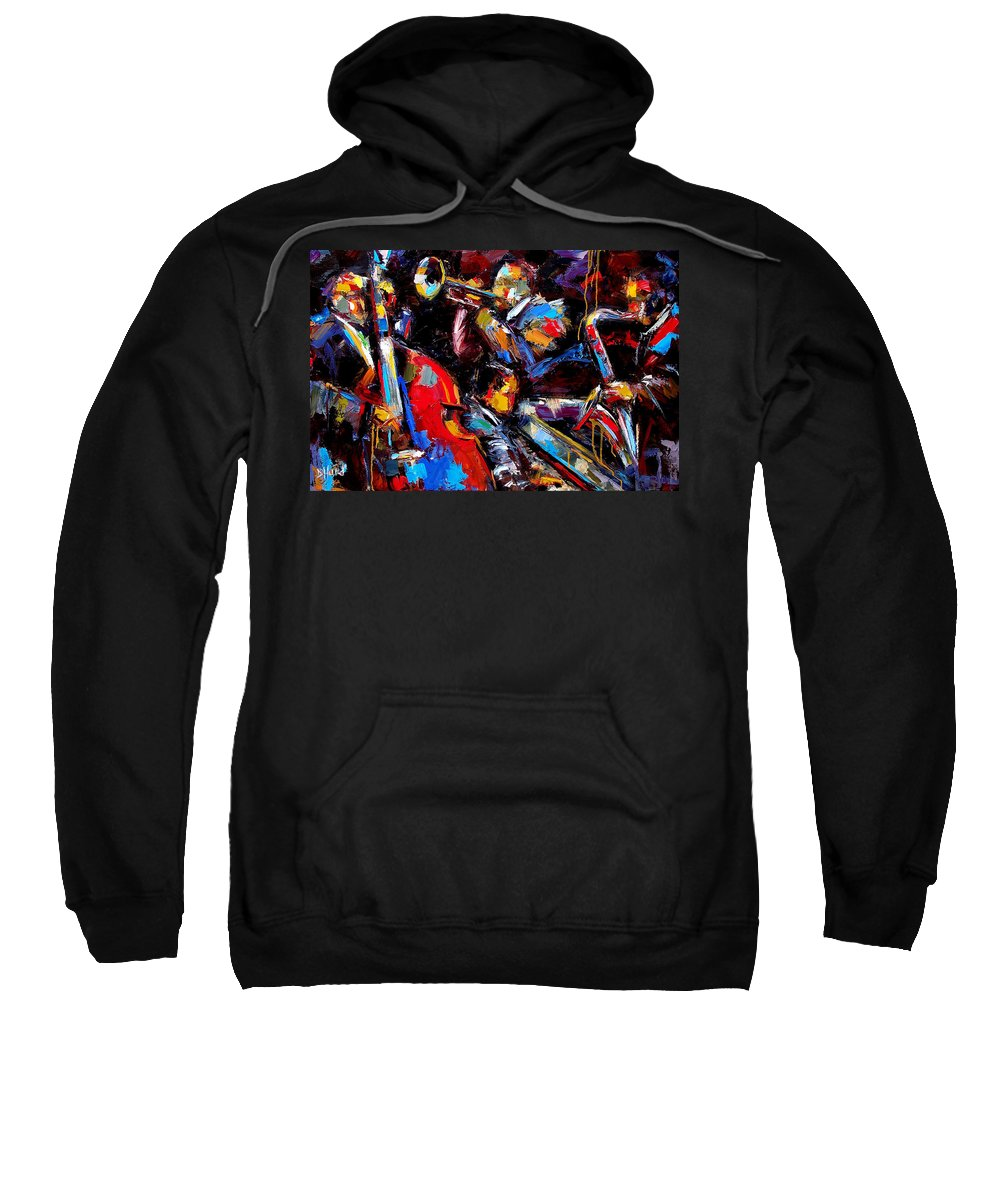 Jazz Paintings Sweatshirt featuring the painting Quartet by Debra Hurd