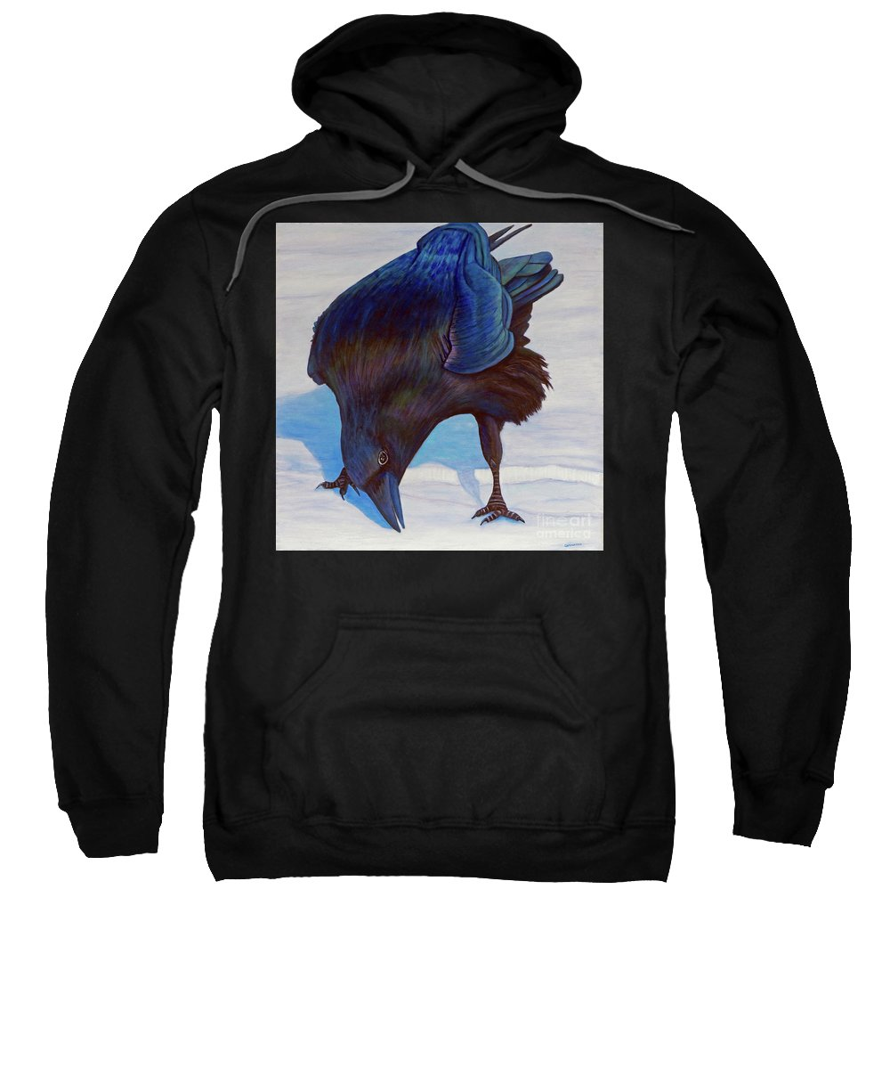 Raven Sweatshirt featuring the painting Que Pasa by Brian Commerford