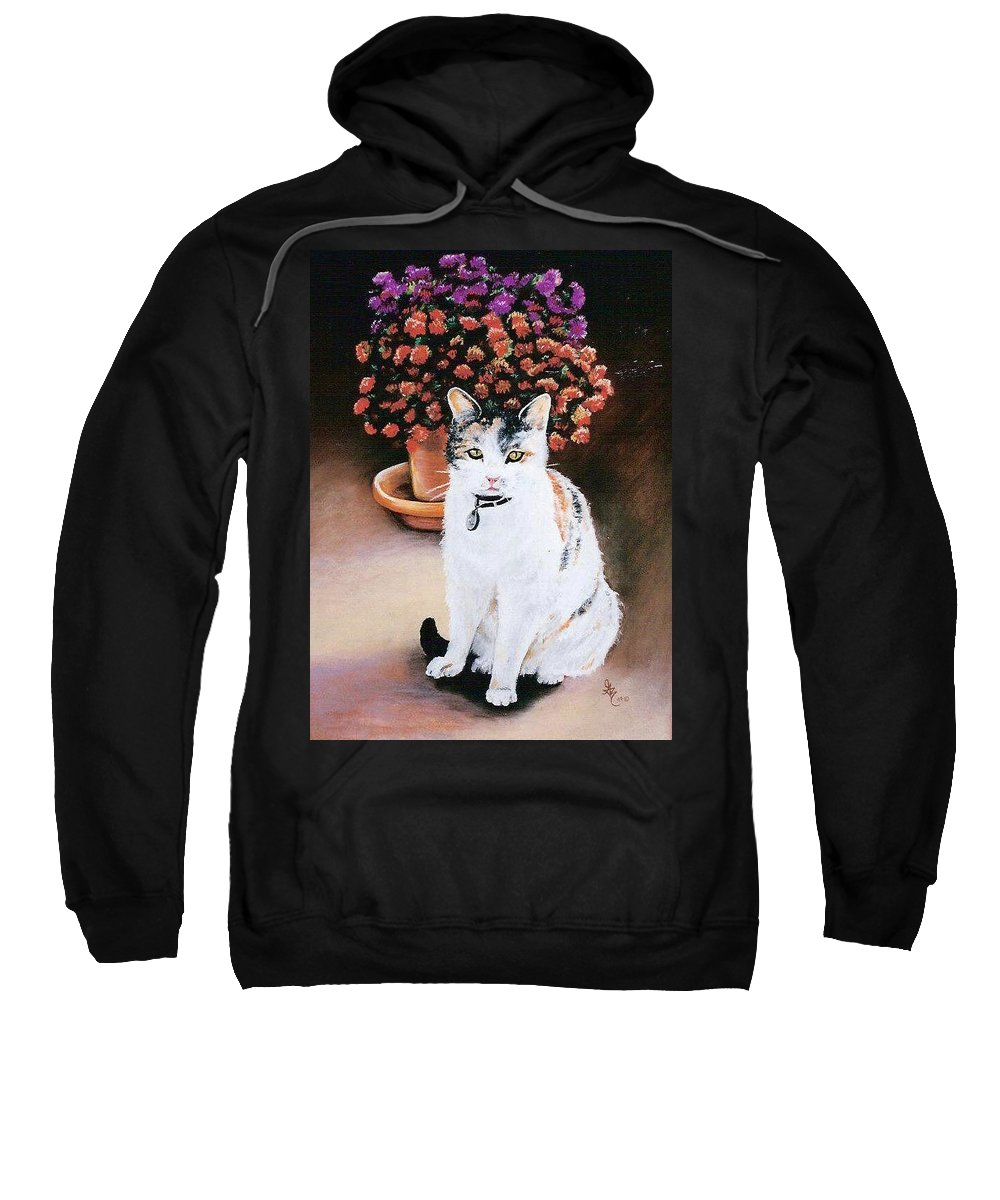 Cat Sweatshirt featuring the pastel Queen Marishka by Gale Cochran-Smith