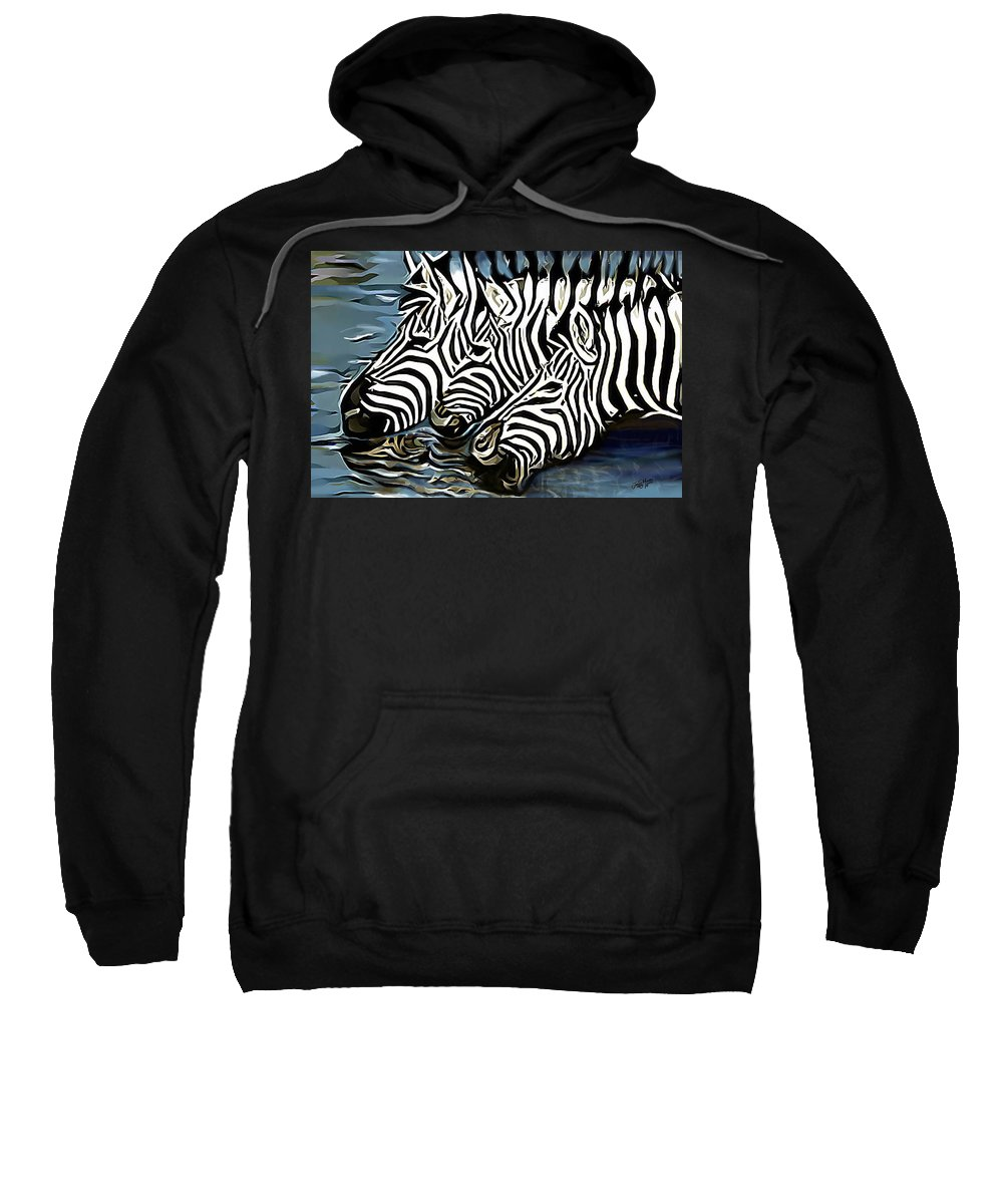 Zebra Sweatshirt featuring the painting Quenching That Thirst by James Mingo