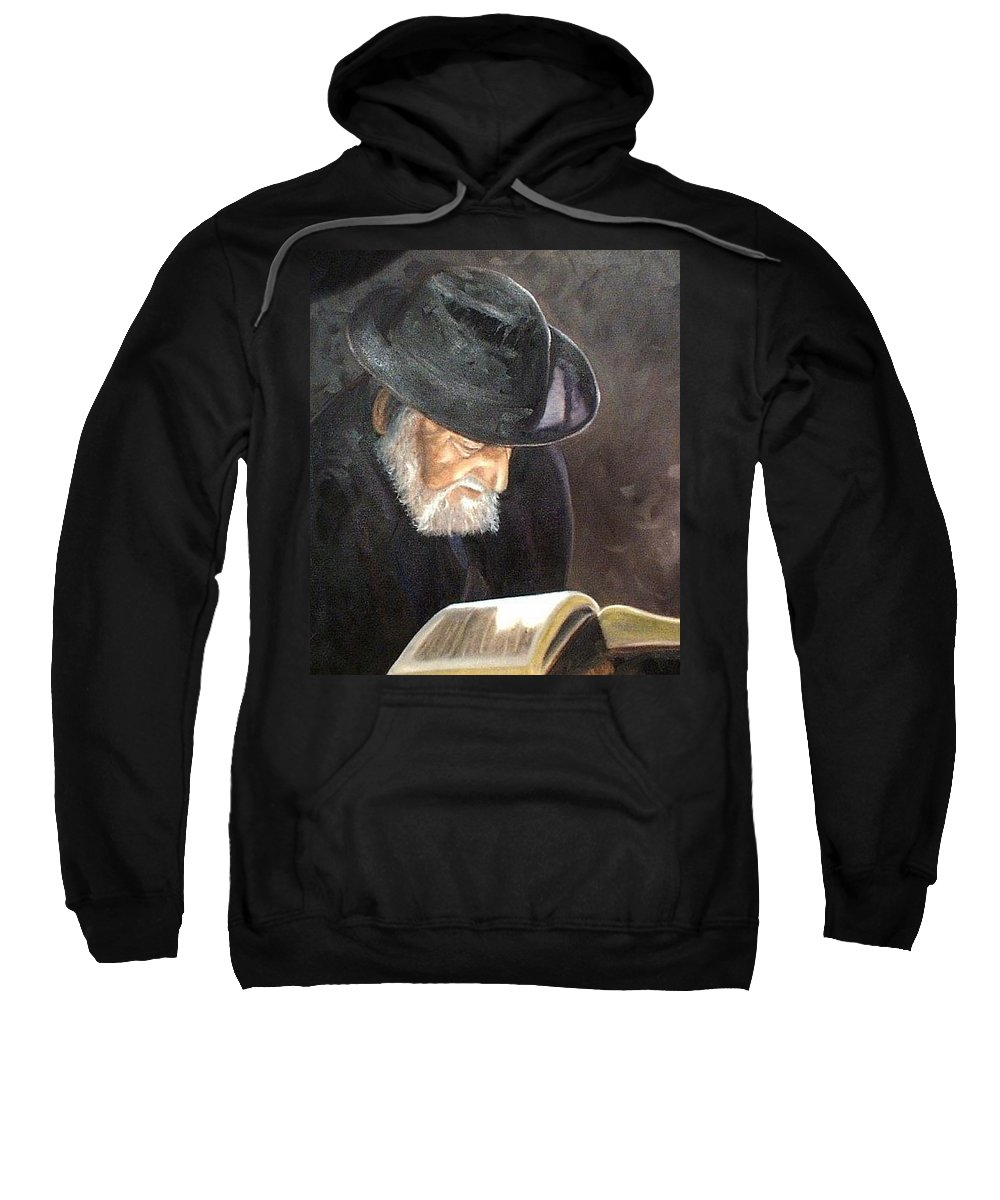 Portrait Sweatshirt featuring the painting Rabbi by Toni Berry