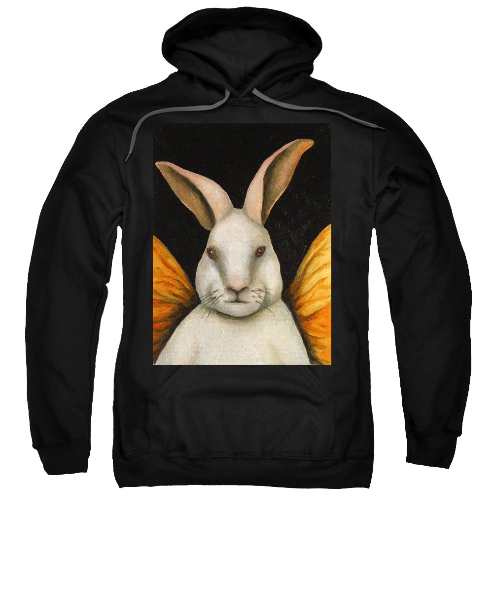 Rabbit Sweatshirt featuring the painting Rabbit Fairy by Leah Saulnier The Painting Maniac
