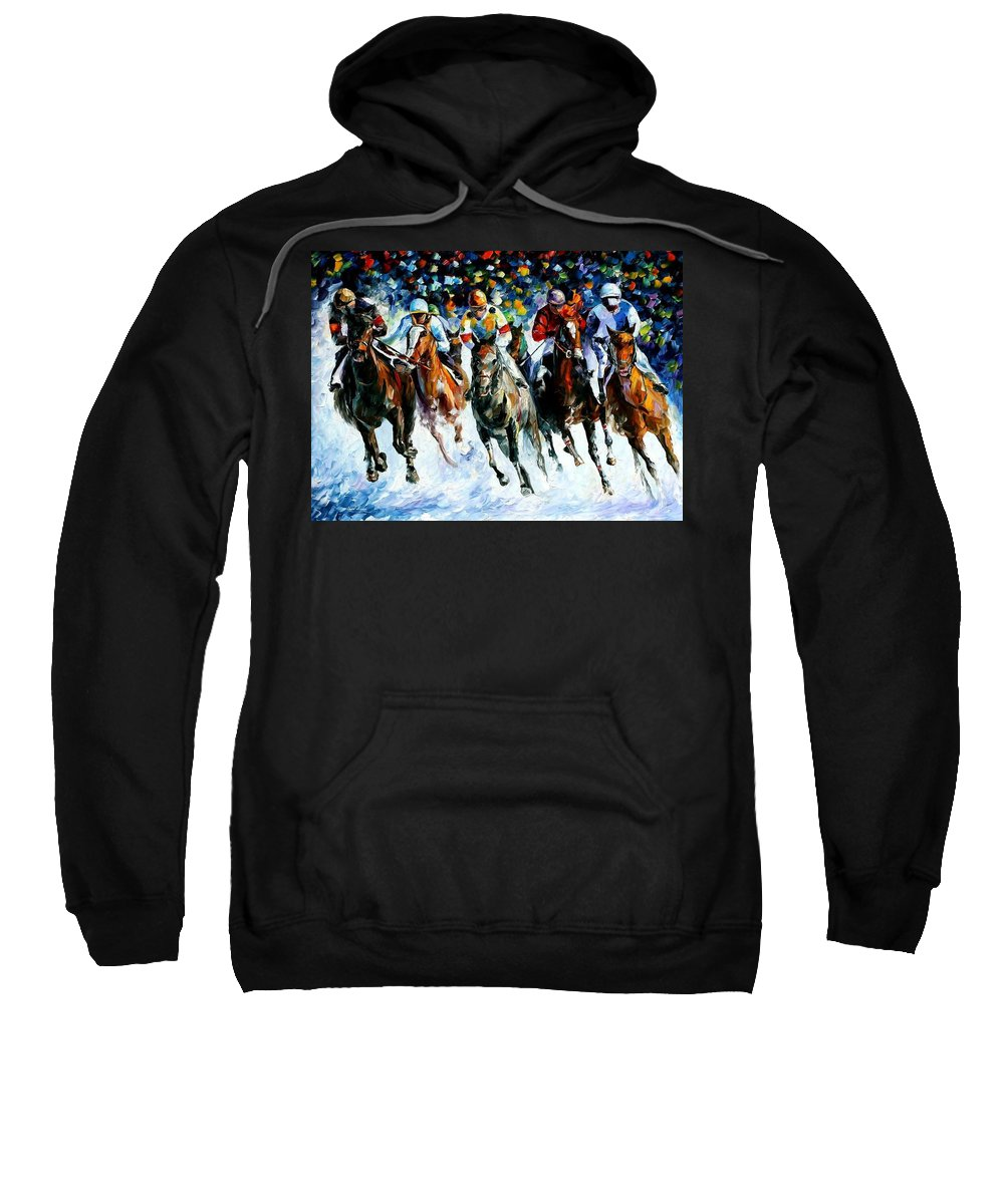 Race Sweatshirt featuring the painting Race On The Snow by Leonid Afremov