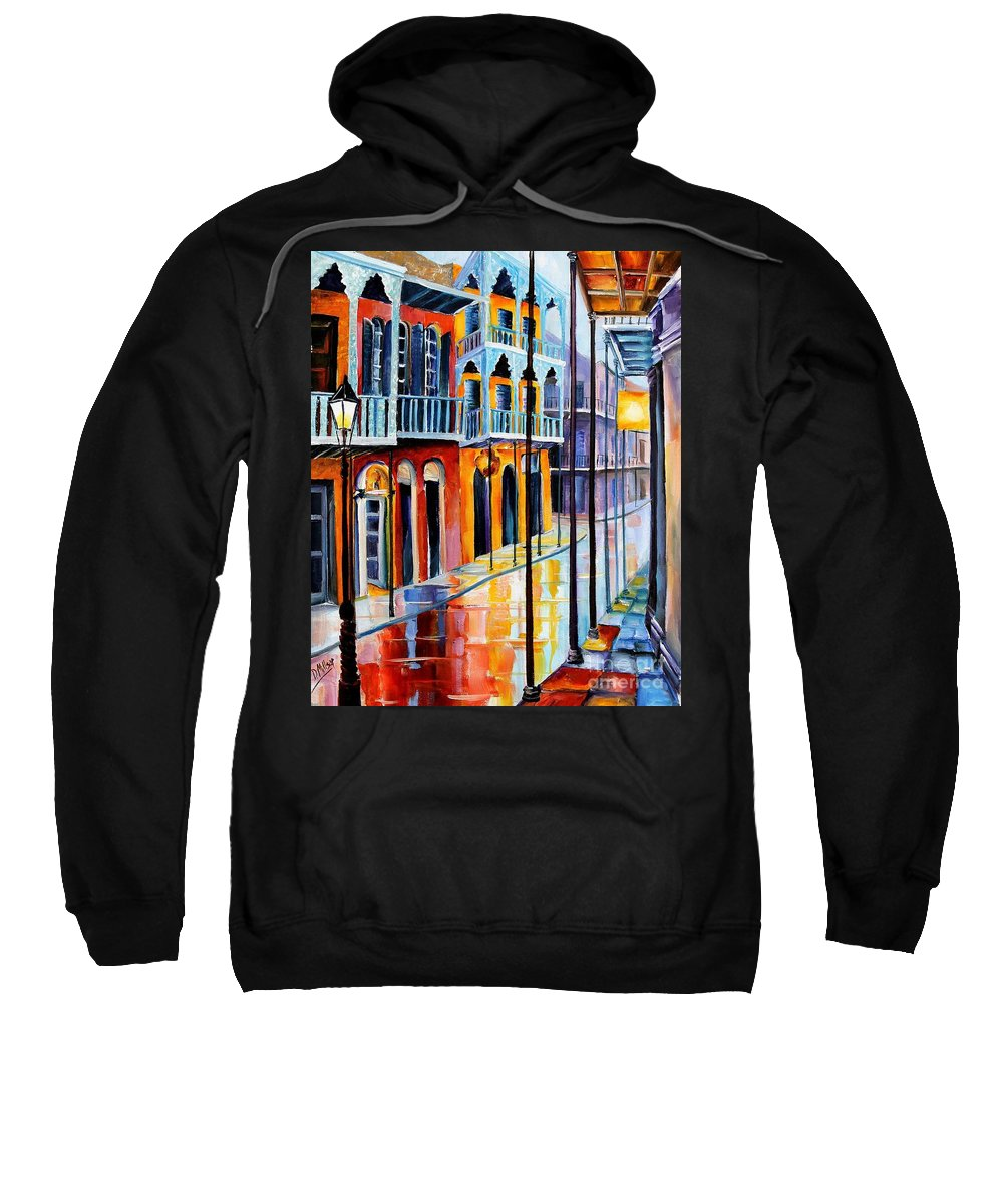 New Orleans Sweatshirt featuring the painting Rain On Royal Street by Diane Millsap