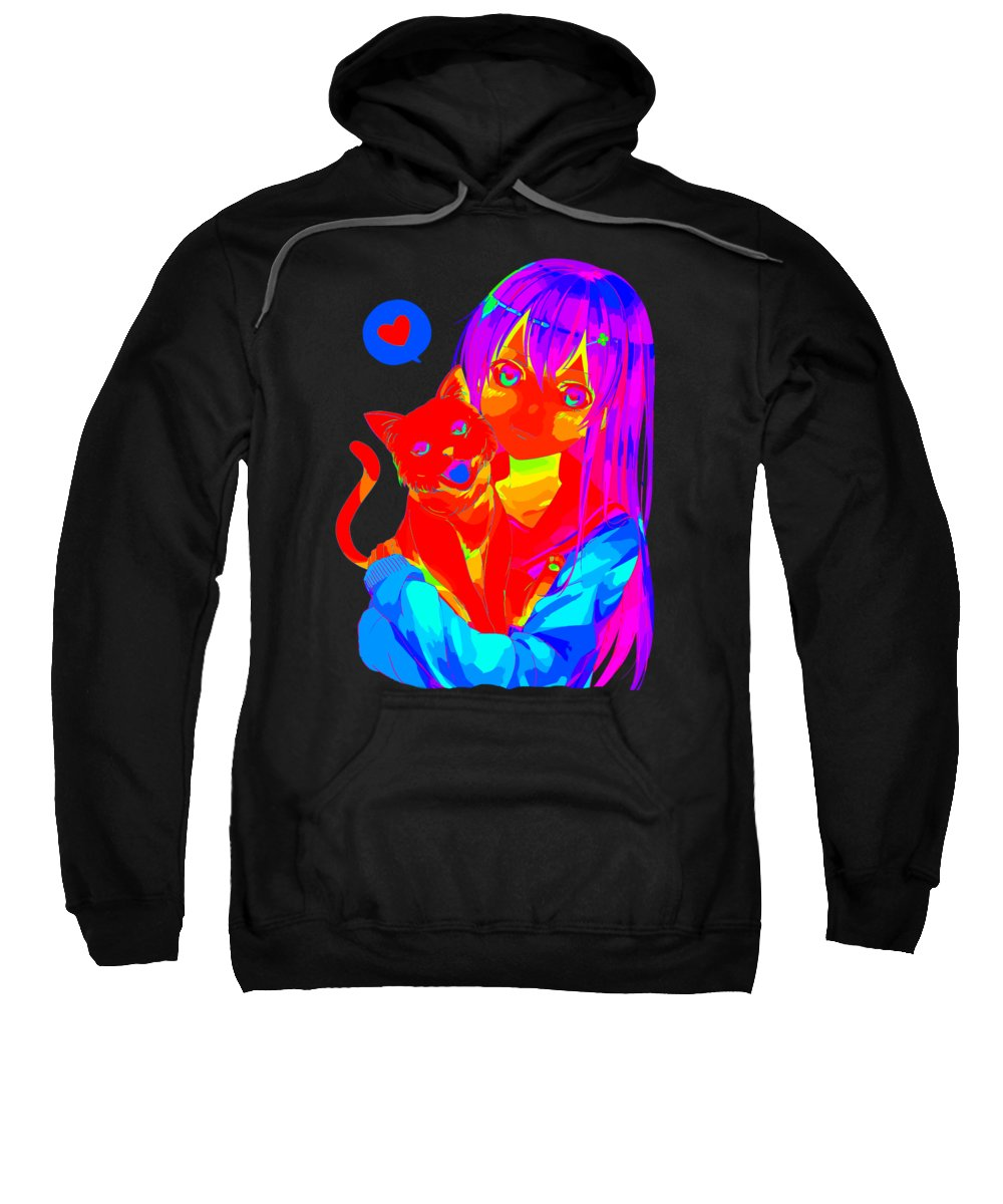Anime Art Sweatshirt featuring the digital art Rainbow Anime Girl Neko Cat by Kaylin Watchorn