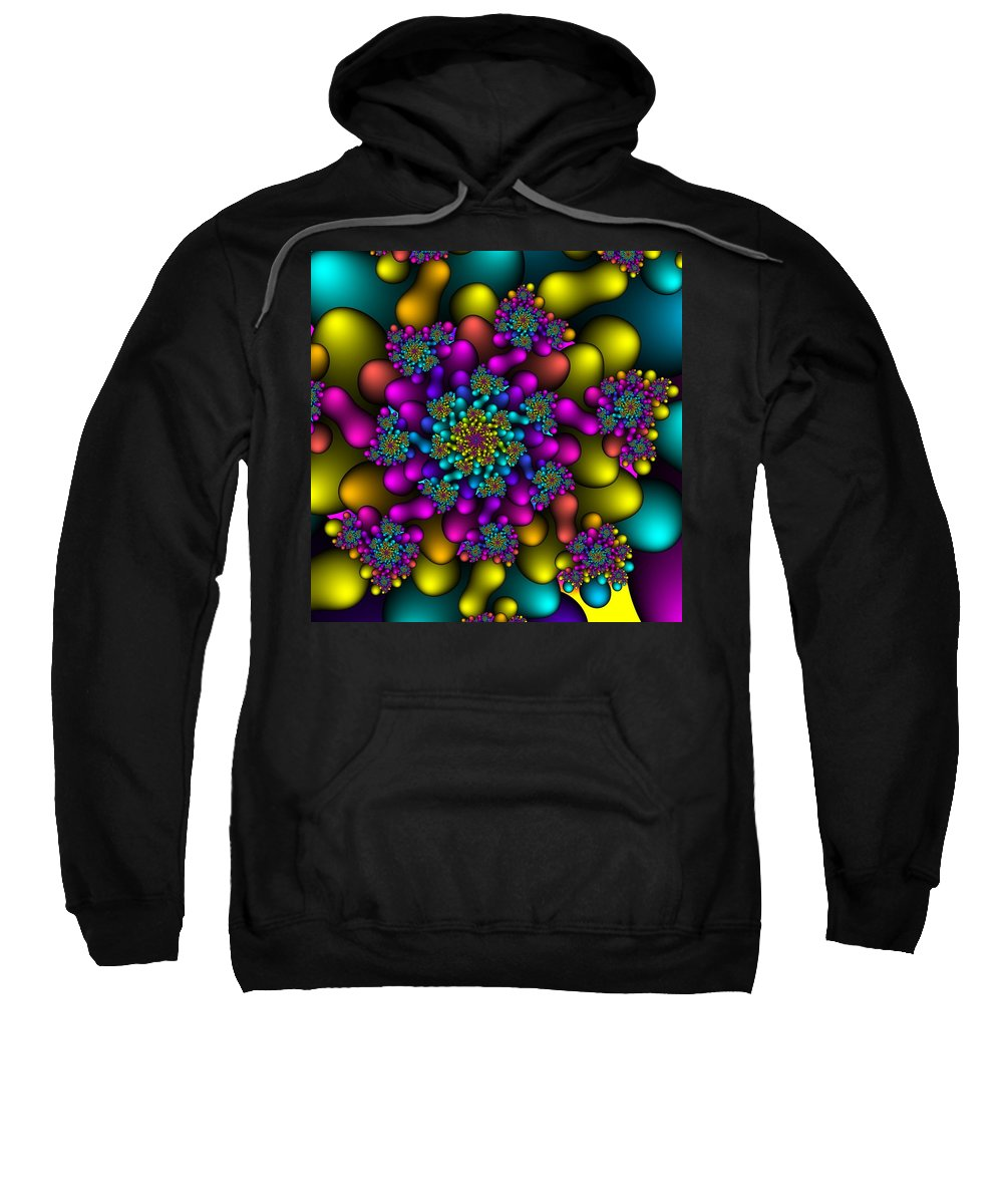 Abstract Sweatshirt featuring the digital art Rainbow Fireworks Fractal by Christy Leigh