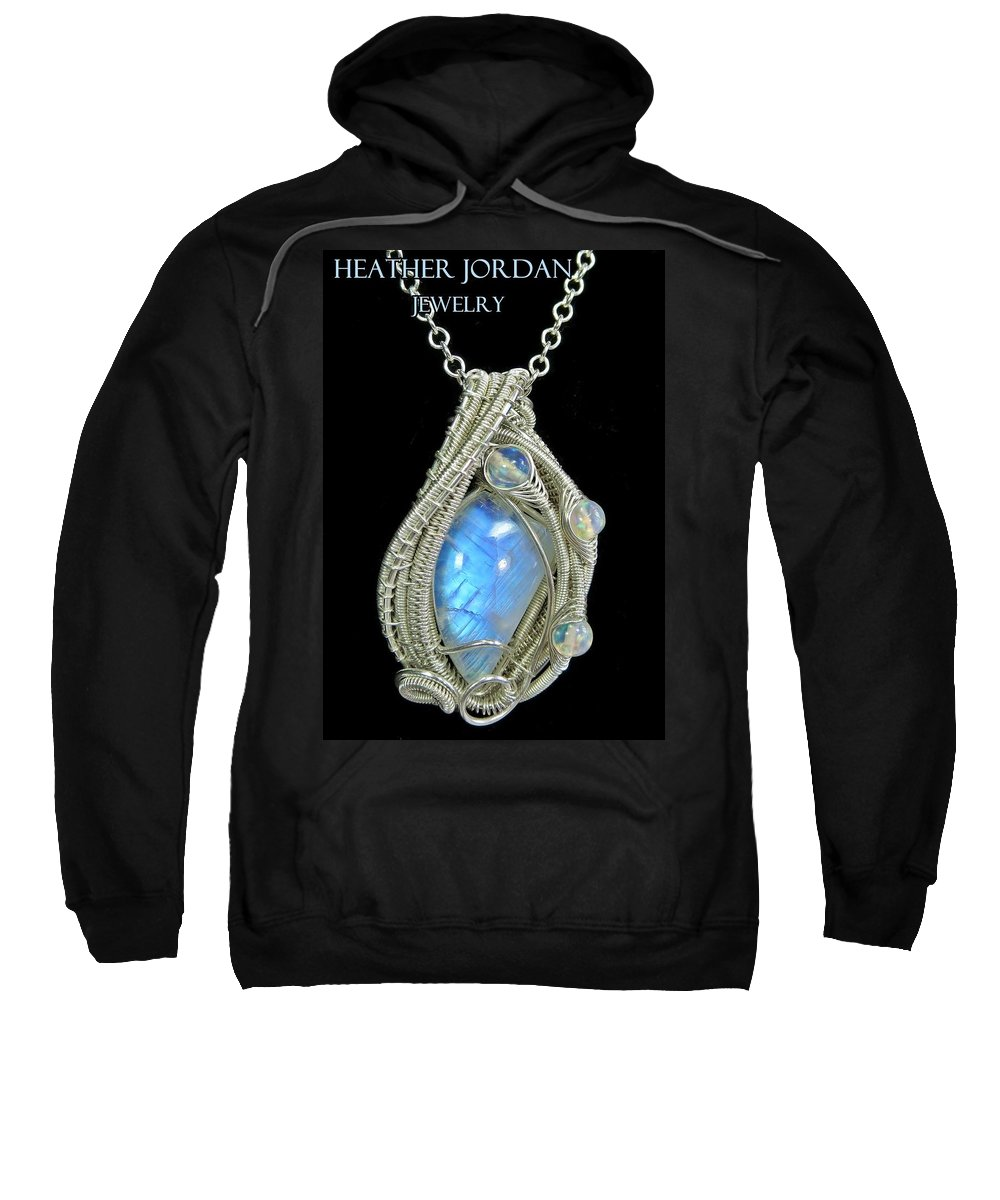 Heather Jordan Sweatshirt featuring the jewelry Rainbow Moonstone And Sterling Silver Wire-wrapped Pendant With Ethiopian Welo Opals - Mnstpss11 by Heather Jordan