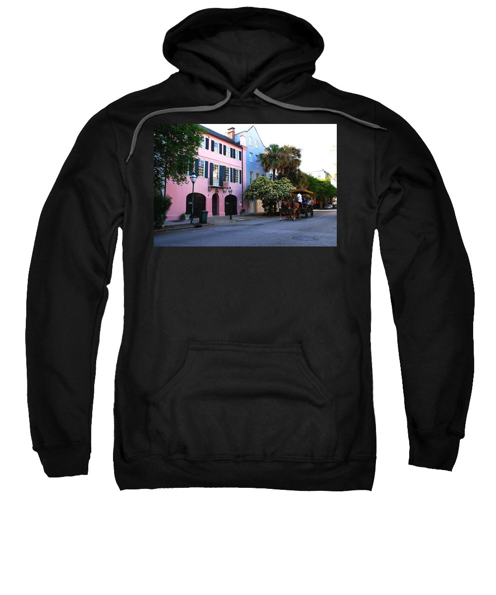 Charleston Sweatshirt featuring the photograph Rainbow Row Charleston by Susanne Van Hulst