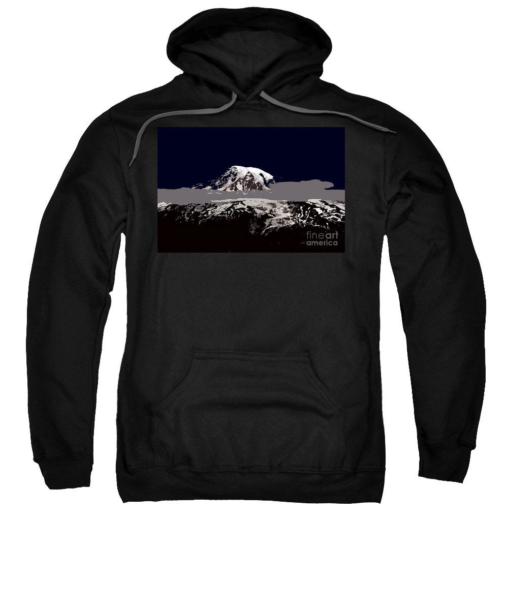 Mt Rainier Sweatshirt featuring the painting Rainier by David Lee Thompson