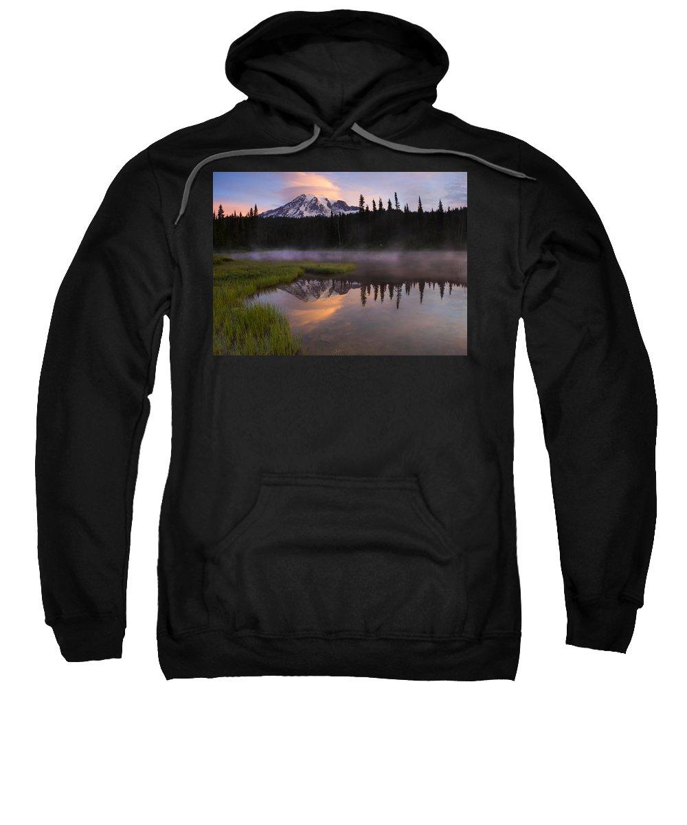 Rainier Sweatshirt featuring the photograph Rainier Lenticular Sunrise by Mike Dawson