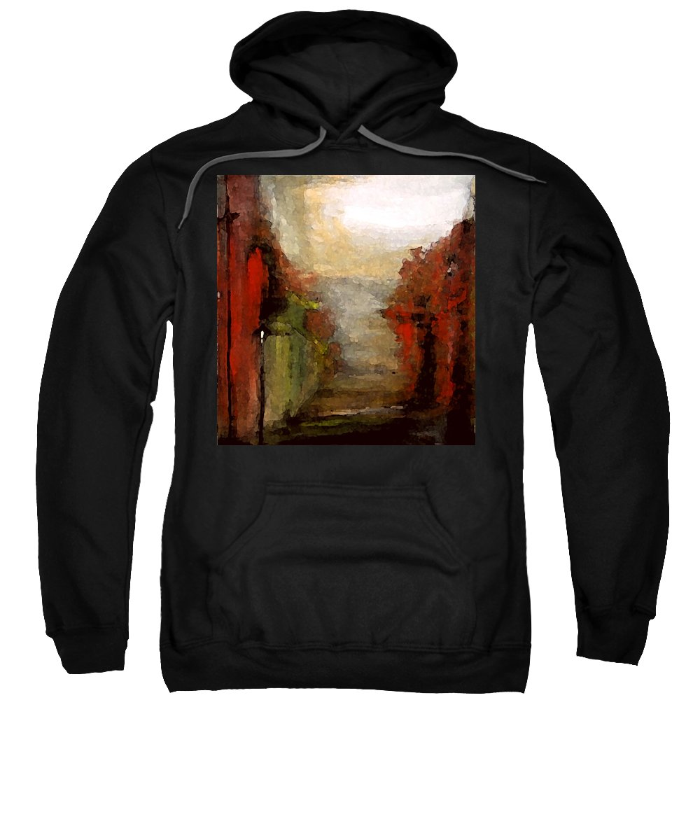 Landscape Sweatshirt featuring the painting Rainy Day by Rome Matikonyte