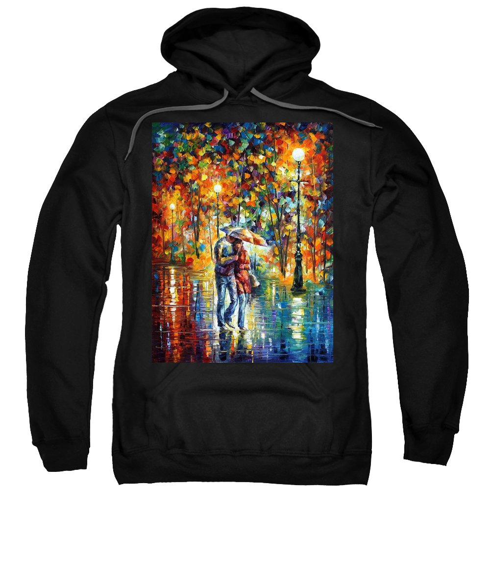 Afremov Sweatshirt featuring the painting Rainy Evening by Leonid Afremov