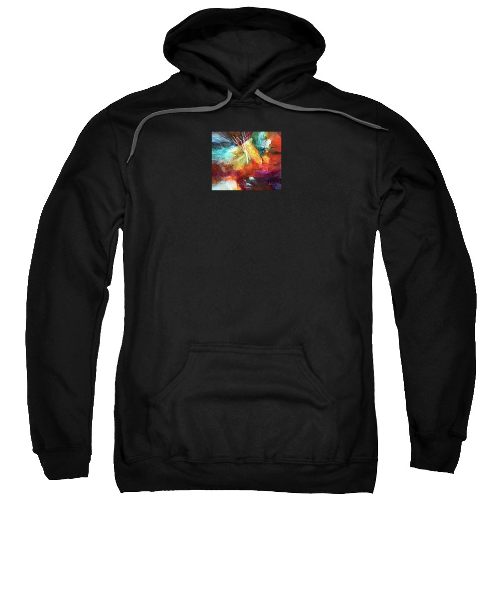 Abstract Sweatshirt featuring the painting Random Spring by Sue Downes Allen