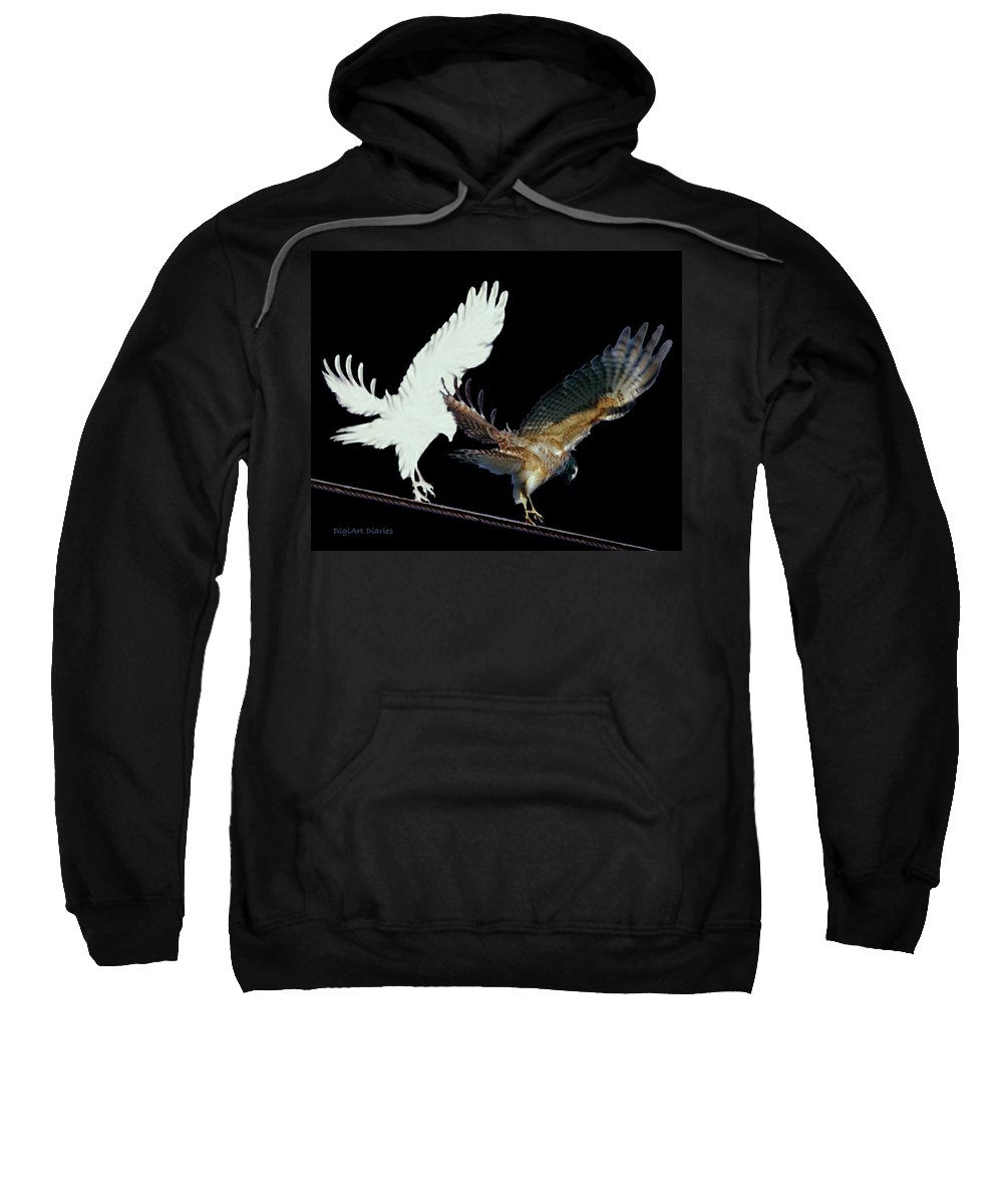 Bird Sweatshirt featuring the digital art Raptor And His Soul by DigiArt Diaries by Vicky B Fuller