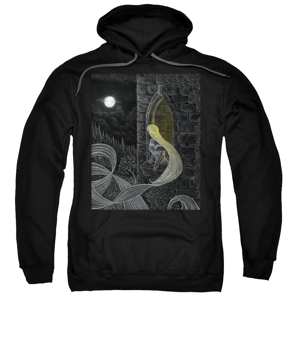 Grimm Sweatshirt featuring the drawing Rapunzel By Night by Philip Harvey