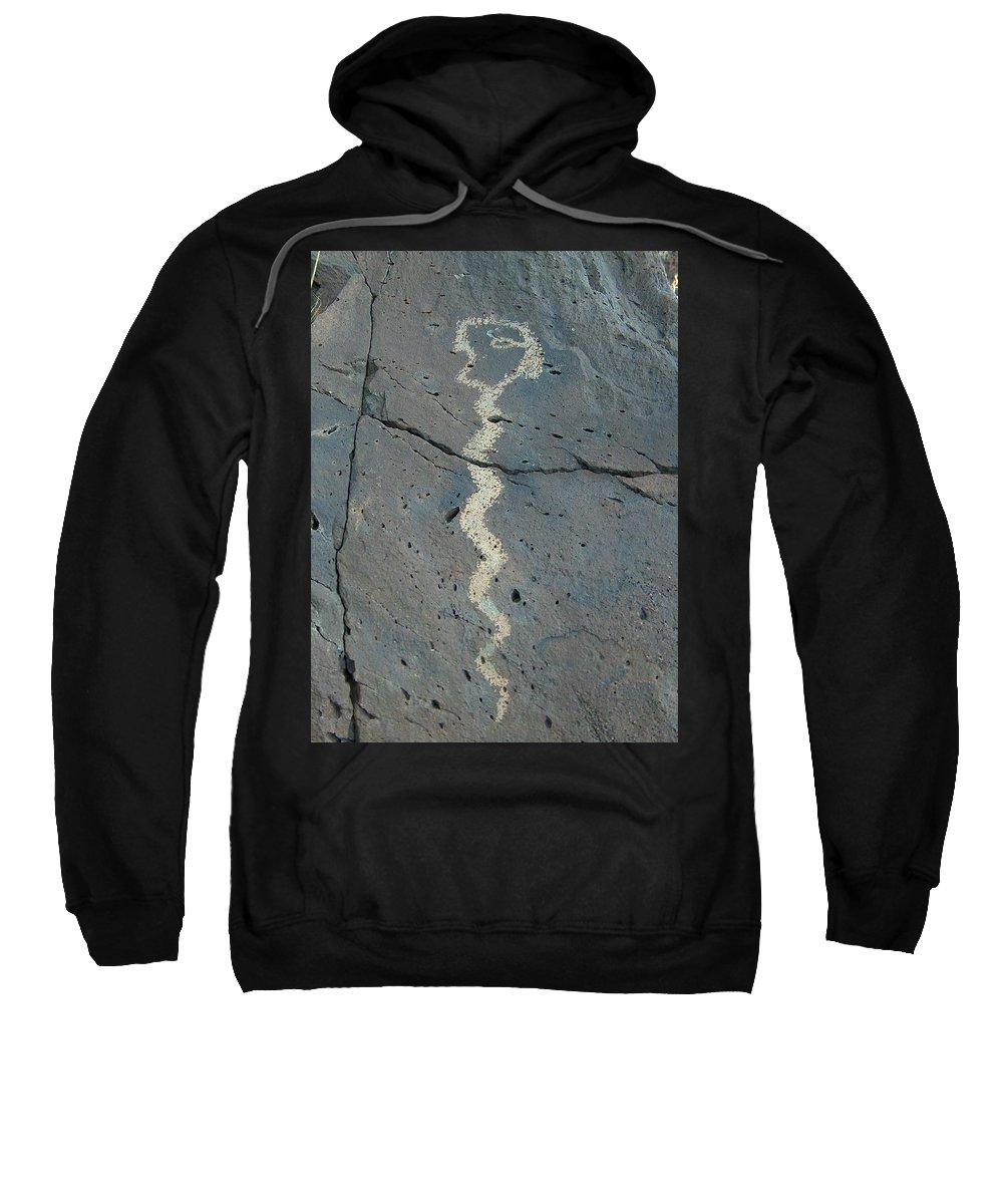 Rattlesnake Sweatshirt featuring the photograph Rattlesnake Petroglyph 2 by Tim McCarthy