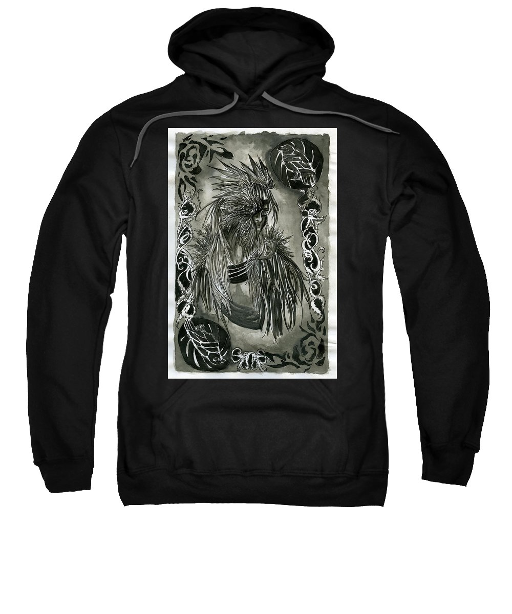 Raven Sweatshirt featuring the drawing Raven by Kita Liosatos