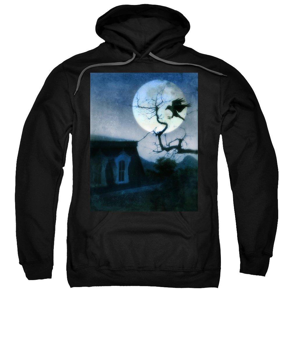 House Sweatshirt featuring the photograph Raven Landing On Branch In Moonlight by Jill Battaglia