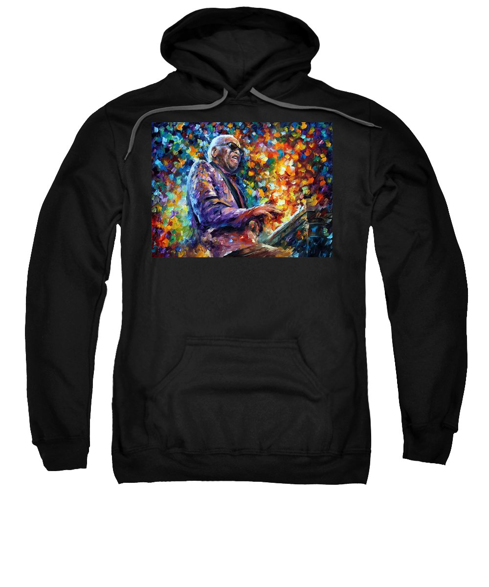 Afremov Sweatshirt featuring the painting Ray Charles by Leonid Afremov