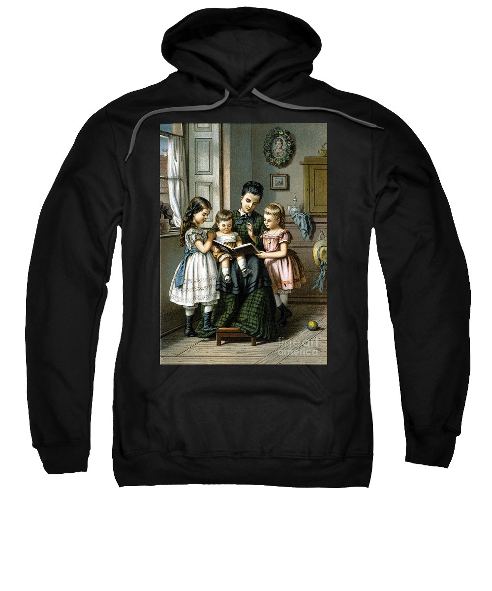 1870 Sweatshirt featuring the photograph Reading To The Children by Granger