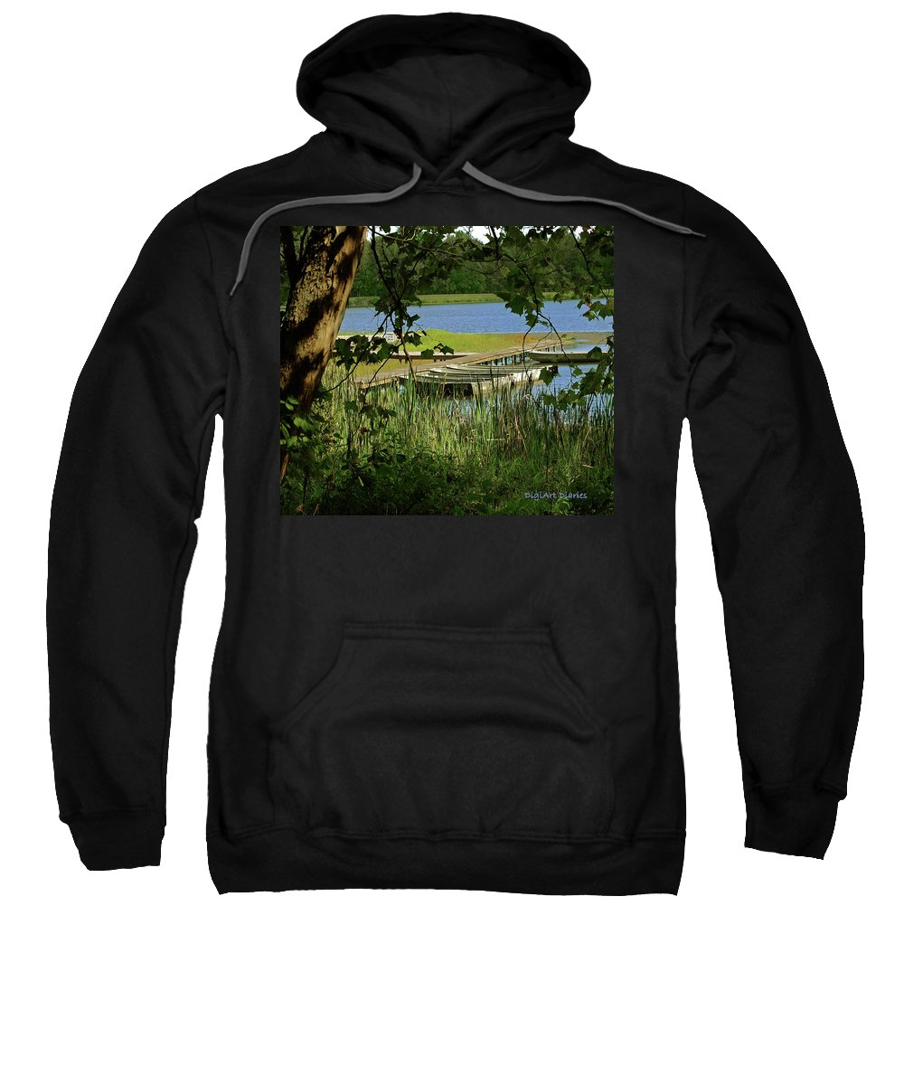 Boats Sweatshirt featuring the digital art Ready To Row With No One To Go by DigiArt Diaries by Vicky B Fuller