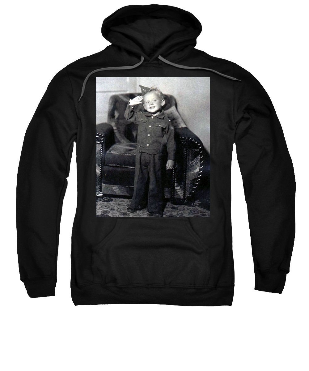 Old Photo Black And White Classic Saskatchewan Pioneers History Child Boy Army Service Sweatshirt featuring the photograph Ready To Serve by Andrea Lawrence