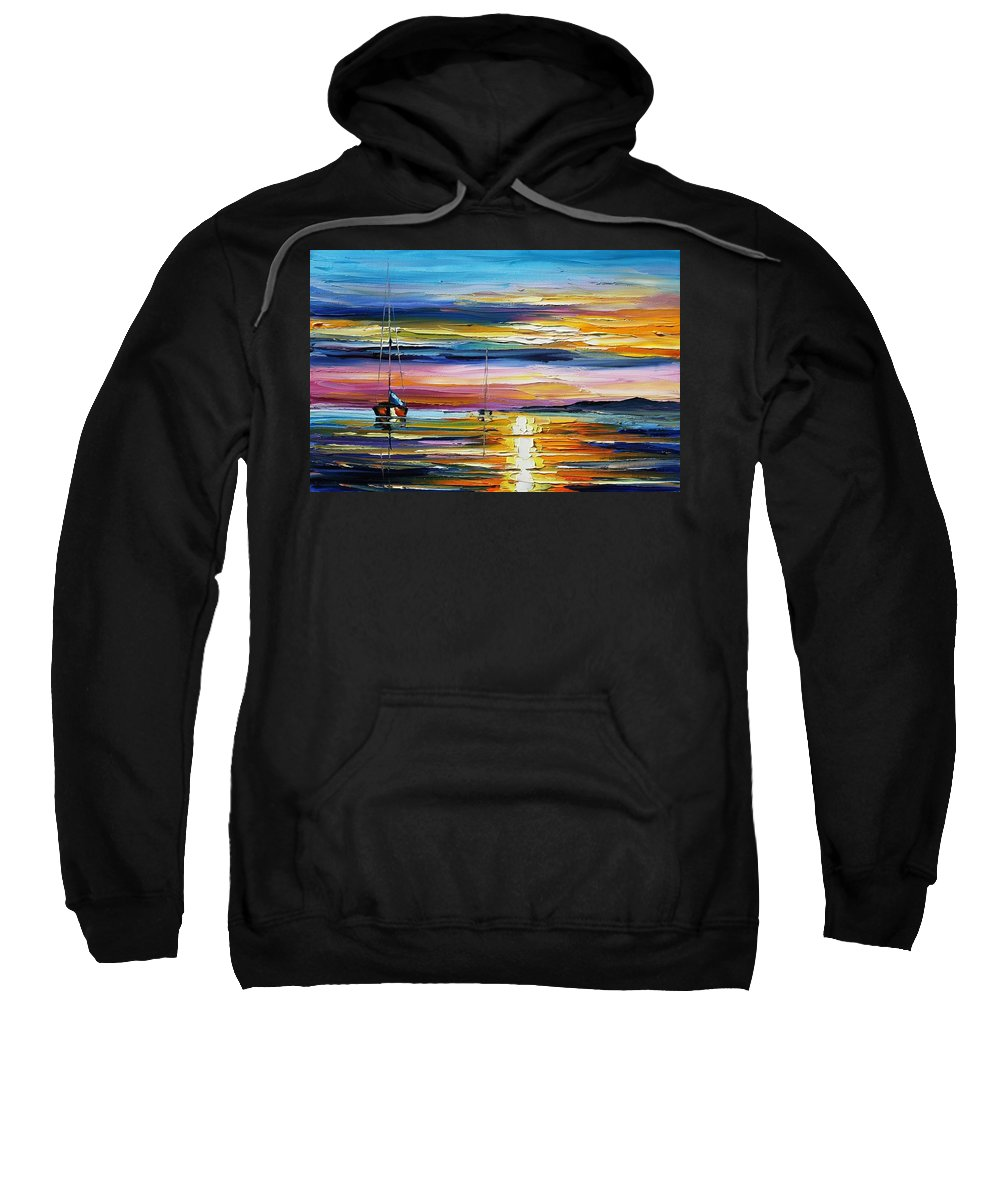 Afremov Sweatshirt featuring the painting Real Sunset by Leonid Afremov