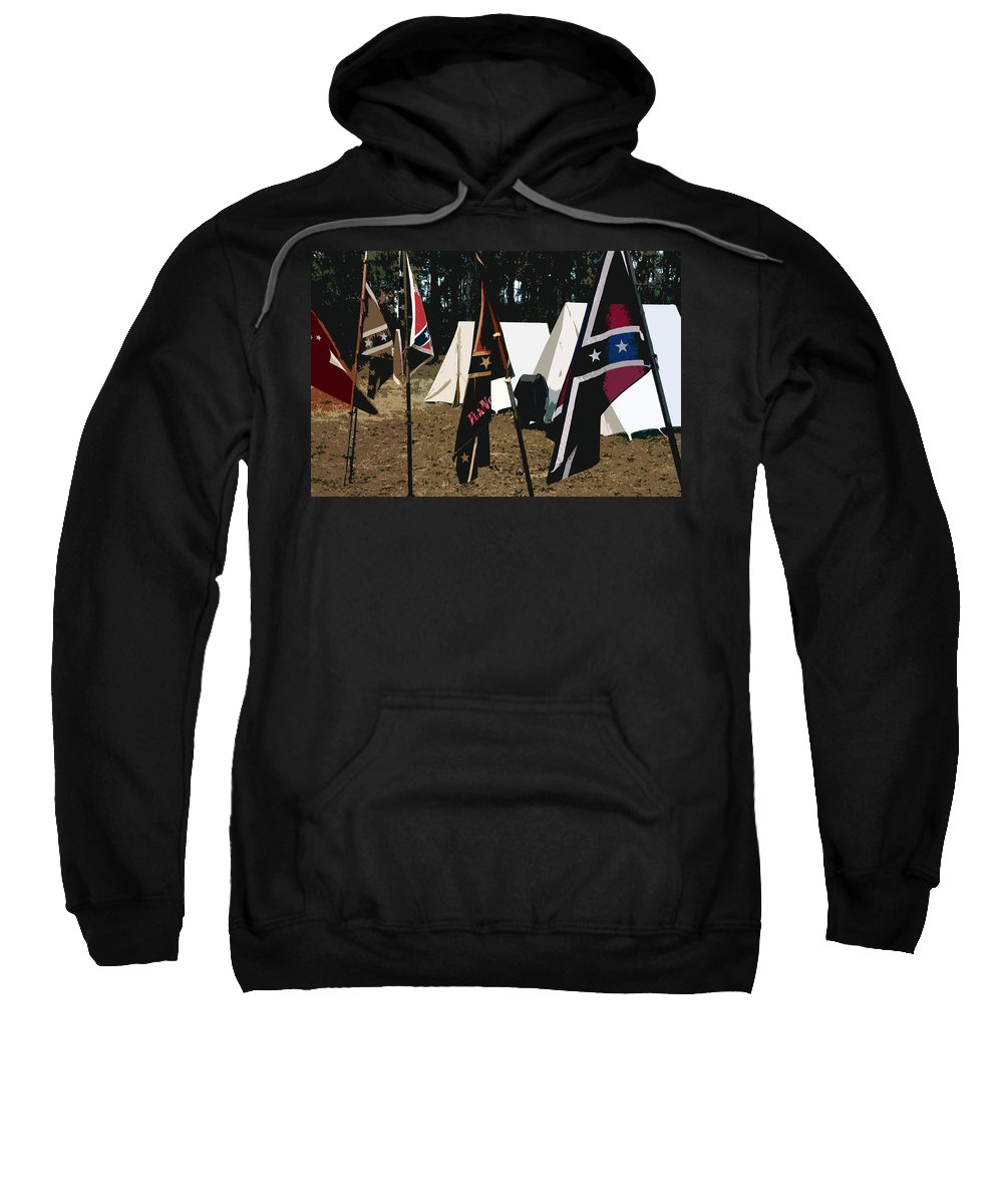 Rebel Army Camp Sweatshirt featuring the painting Rebel Camp by David Lee Thompson