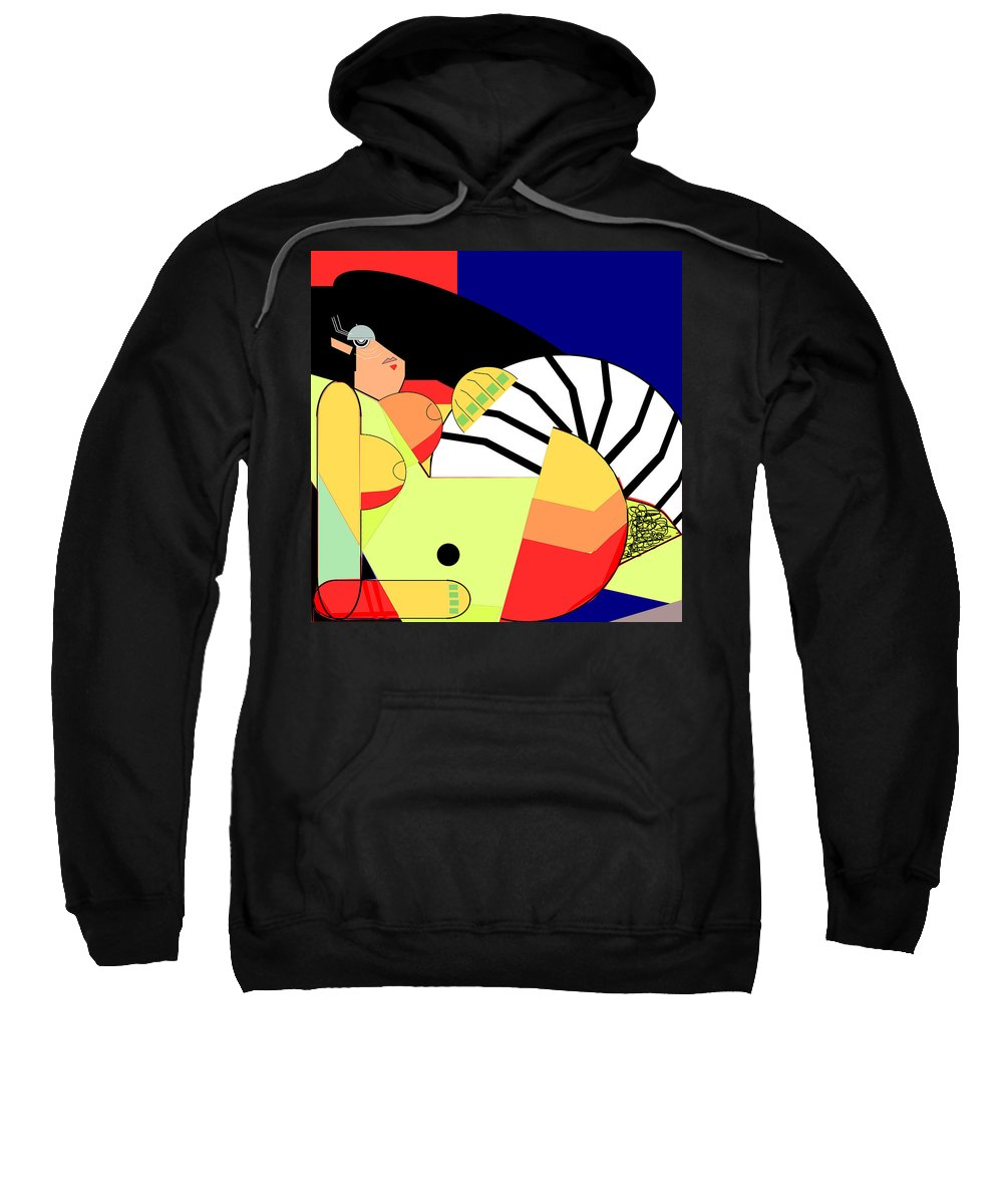 Figure Sweatshirt featuring the digital art Reclining Nude In Blue And Red by Christopher Edge