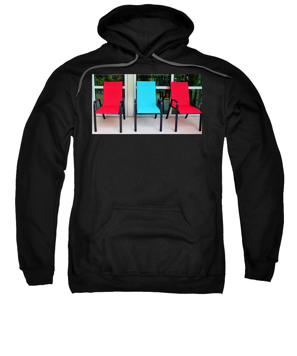 Chair Sweatshirt featuring the photograph Red And Blue Chairs by Cynthia Guinn