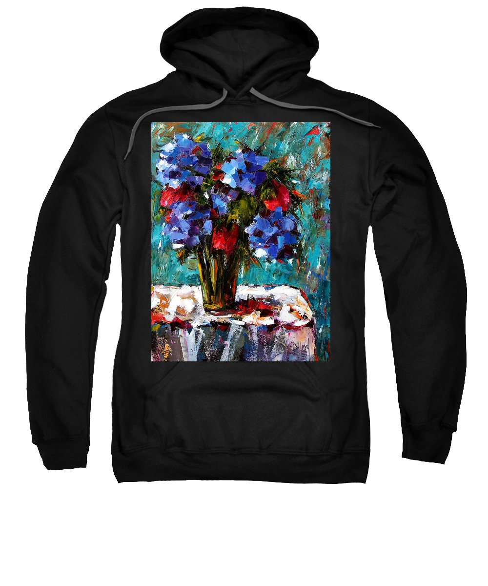 Sweatshirt featuring the painting Red And Blue by Debra Hurd